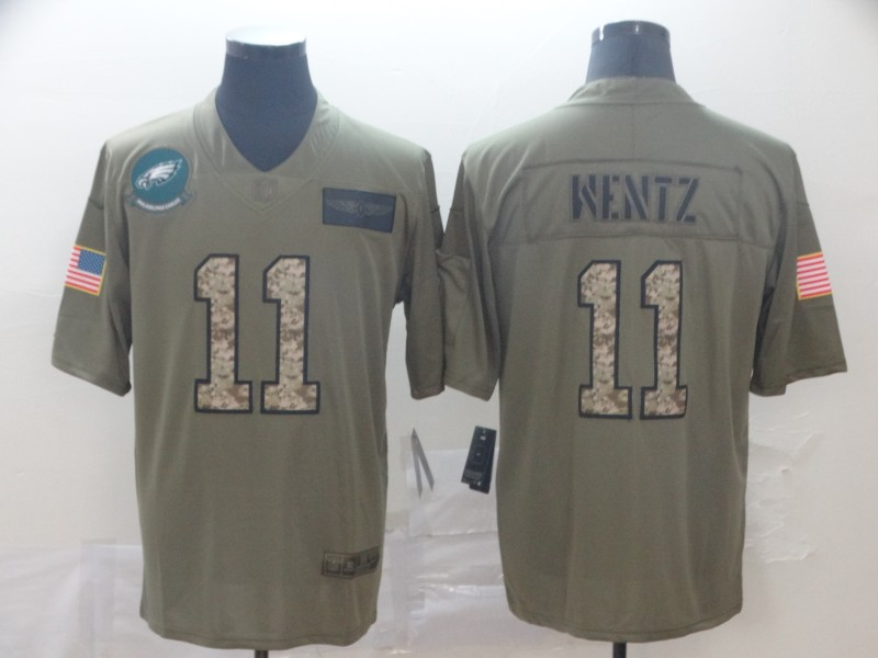 Nike Eagles 11 Carson Wentz 2019 Olive Camo Salute To Service Limited Jersey