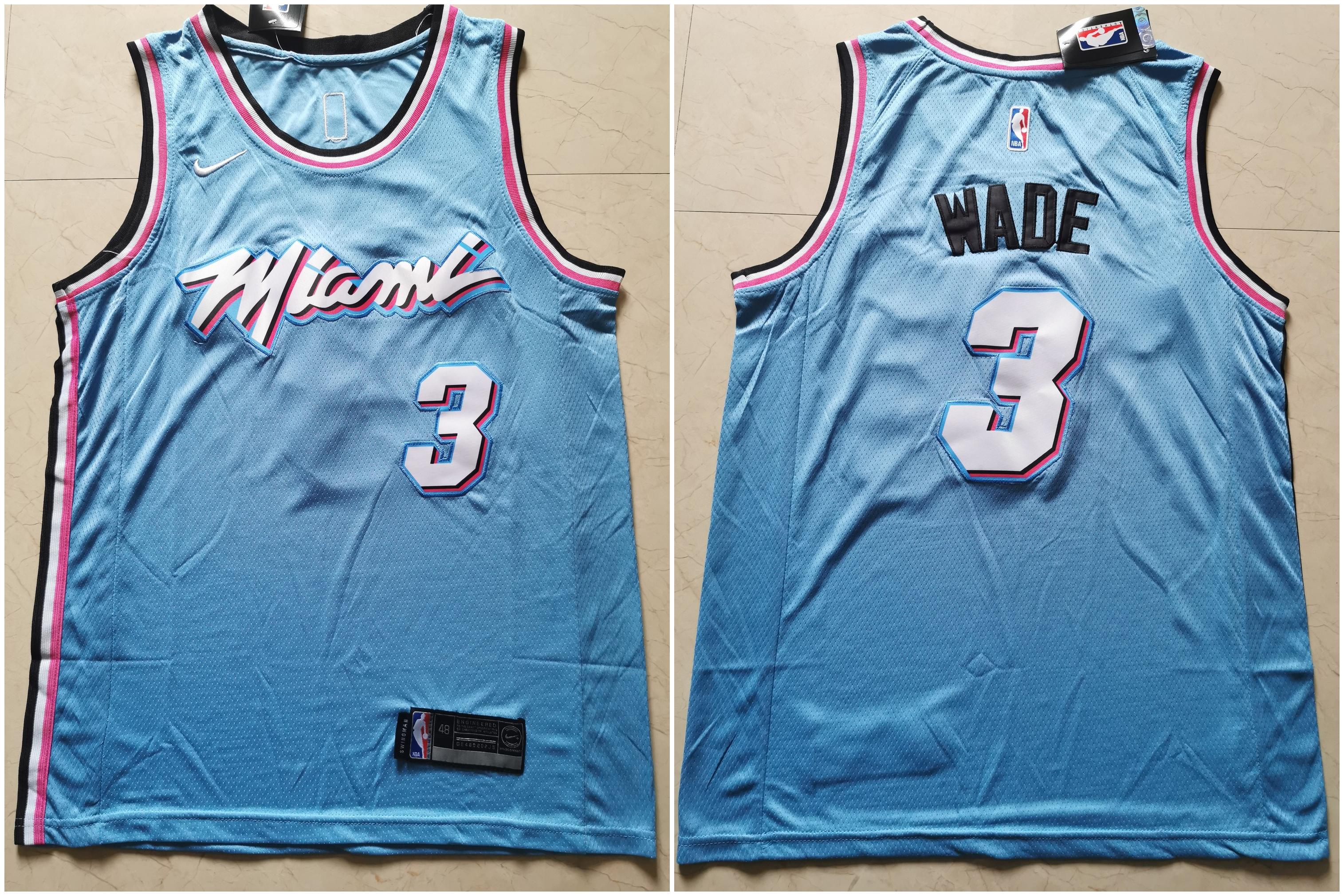Heat 3 Dwyane Wade Light Blue Nike City Edition Swingman Jersey