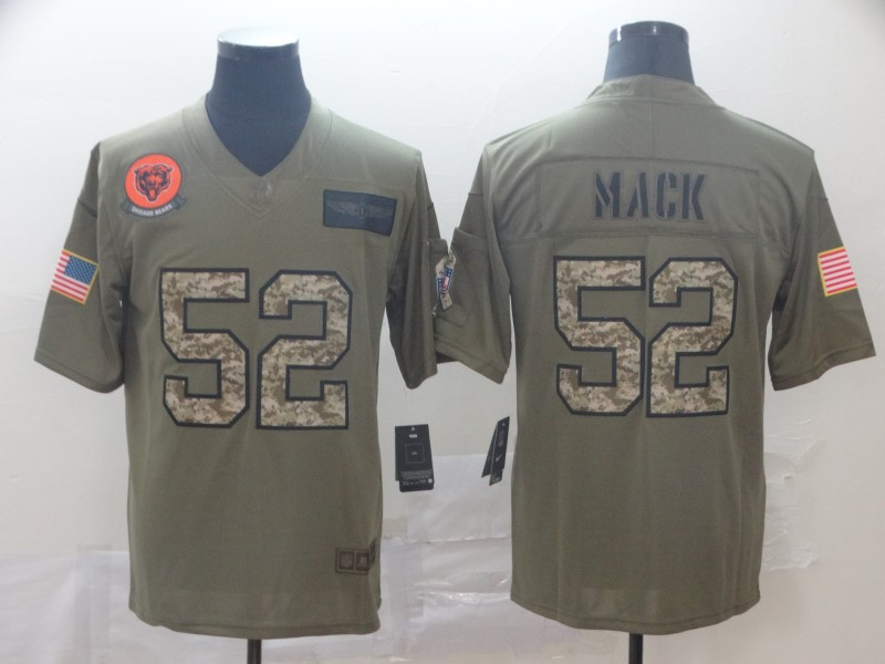 Nike Bears 52 Khalil Mack 2019 Olive Camo Salute To Service Limited Jersey