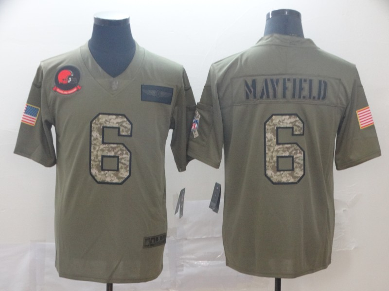 Nike Browns 6 Baker Mayfield 2019 Olive Camo Salute To Service Limited Jersey