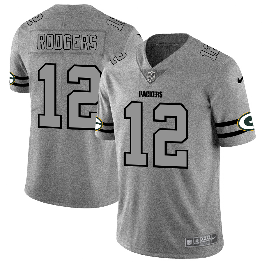 Nike Packers 12 Aaron Rodgers 2019 Gray Gridiron Gray Vapor Untouchable Limited Jersey