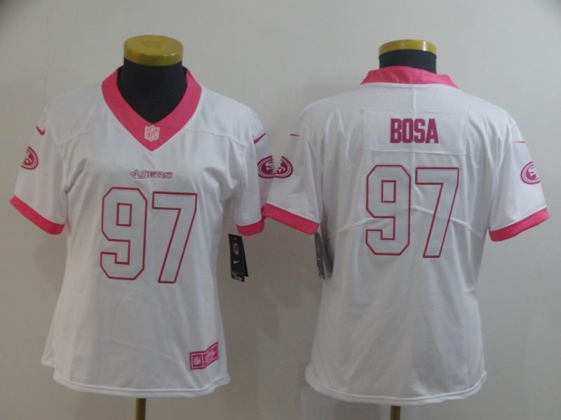 Nike 49ers 97 Nick Bosa White Pink Women Rush Limited Jersey