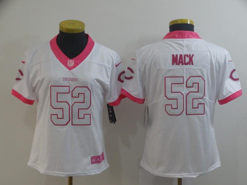 Nike Bears 52 Khalil Mack White Pink Women Rush Limited Jersey