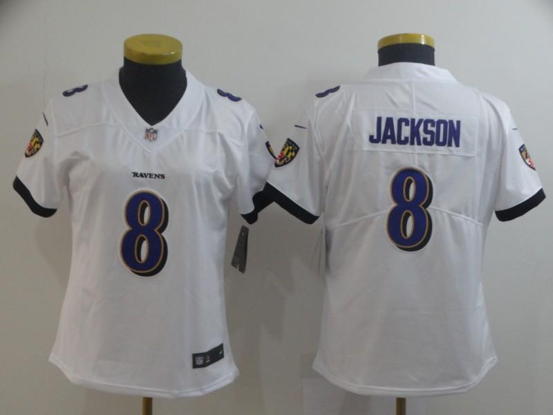 Nike Ravens 8 LaMar Jackson White Women Vapor Untouchable Limited Jersey