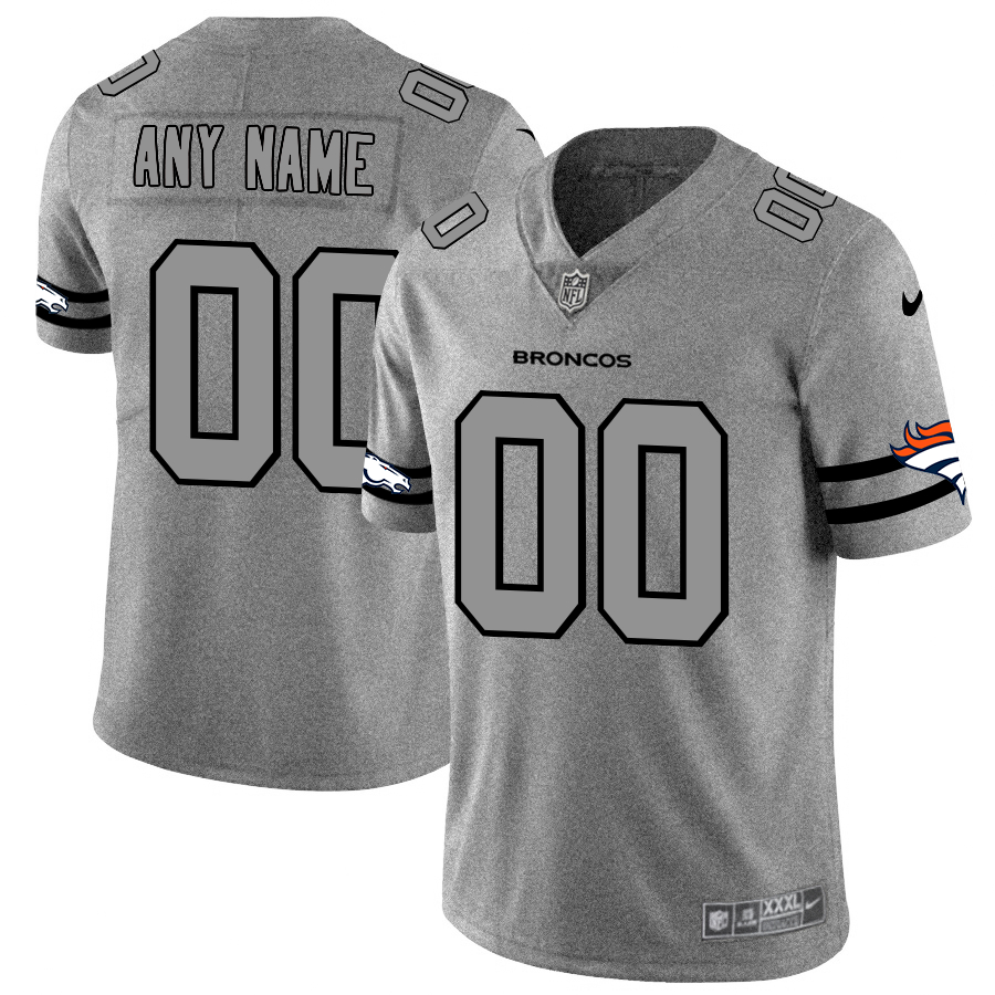 Nike Broncos Customized 2019 Gray Gridiron Gray Vapor Untouchable Limited Jersey