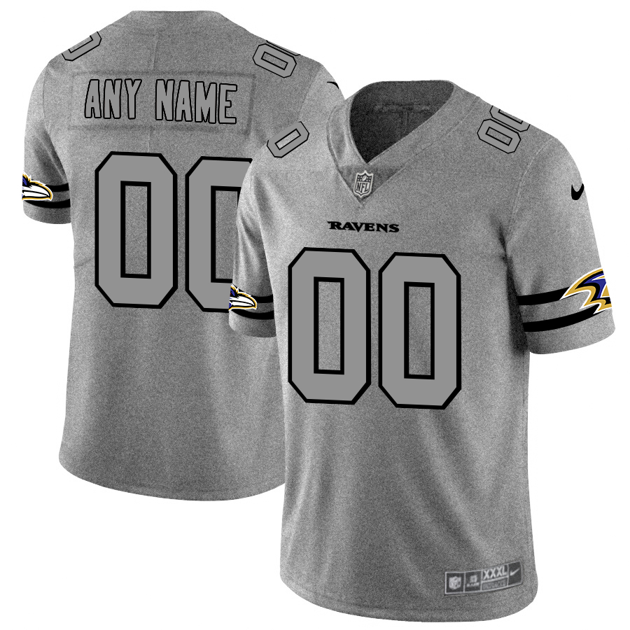 Nike Ravens Customized 2019 Gray Gridiron Gray Vapor Untouchable Limited Jersey