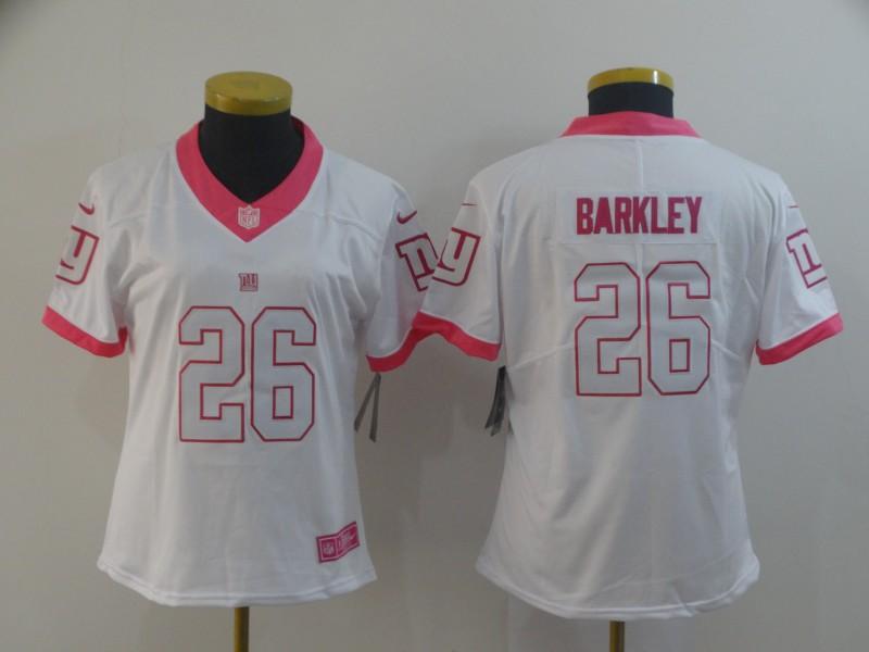 Nike Giants 26 Saquon Barkley White Pink Women Rush Fashion Limited Jersey