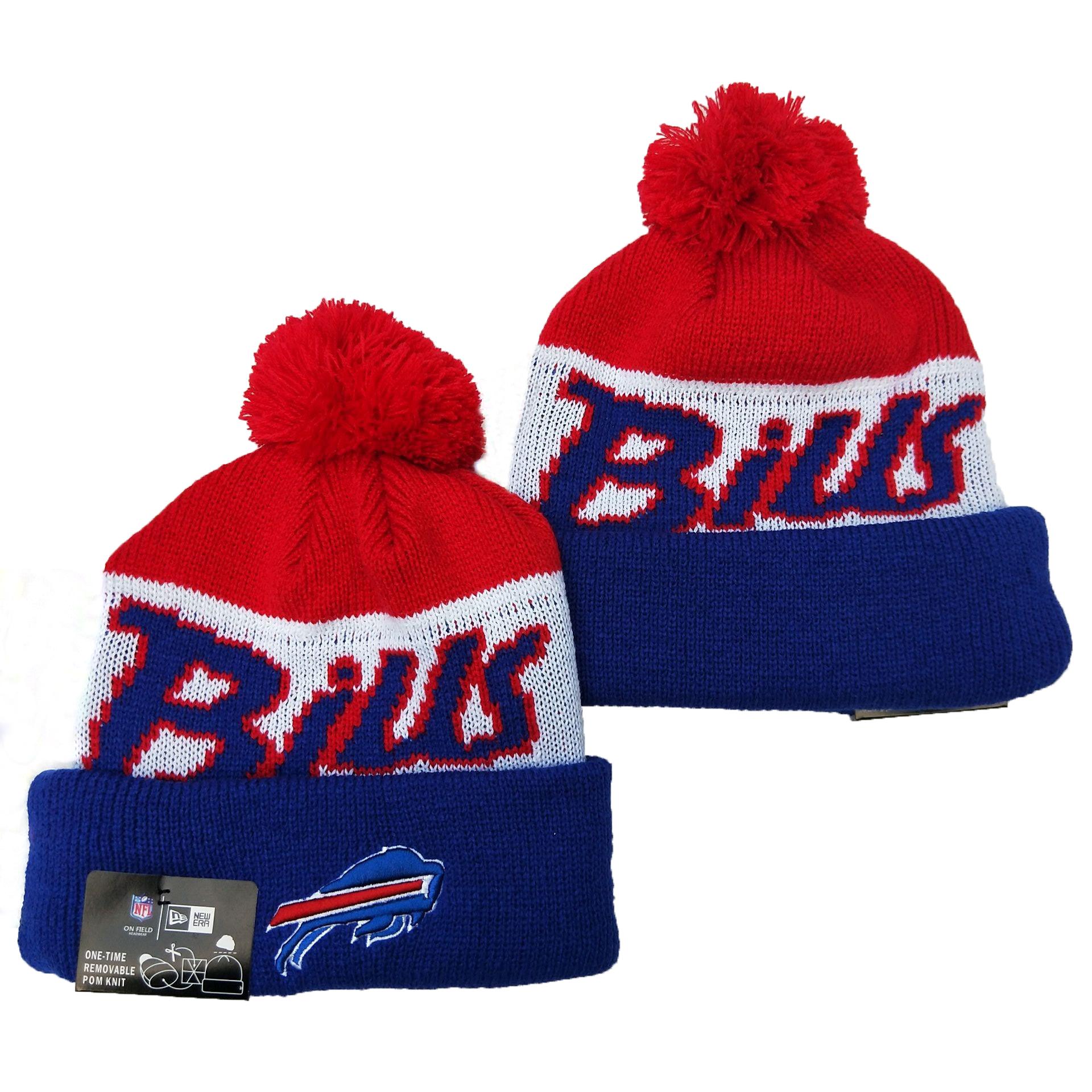 Bills Team Logo Red White Royal Pom Knit Hat YD