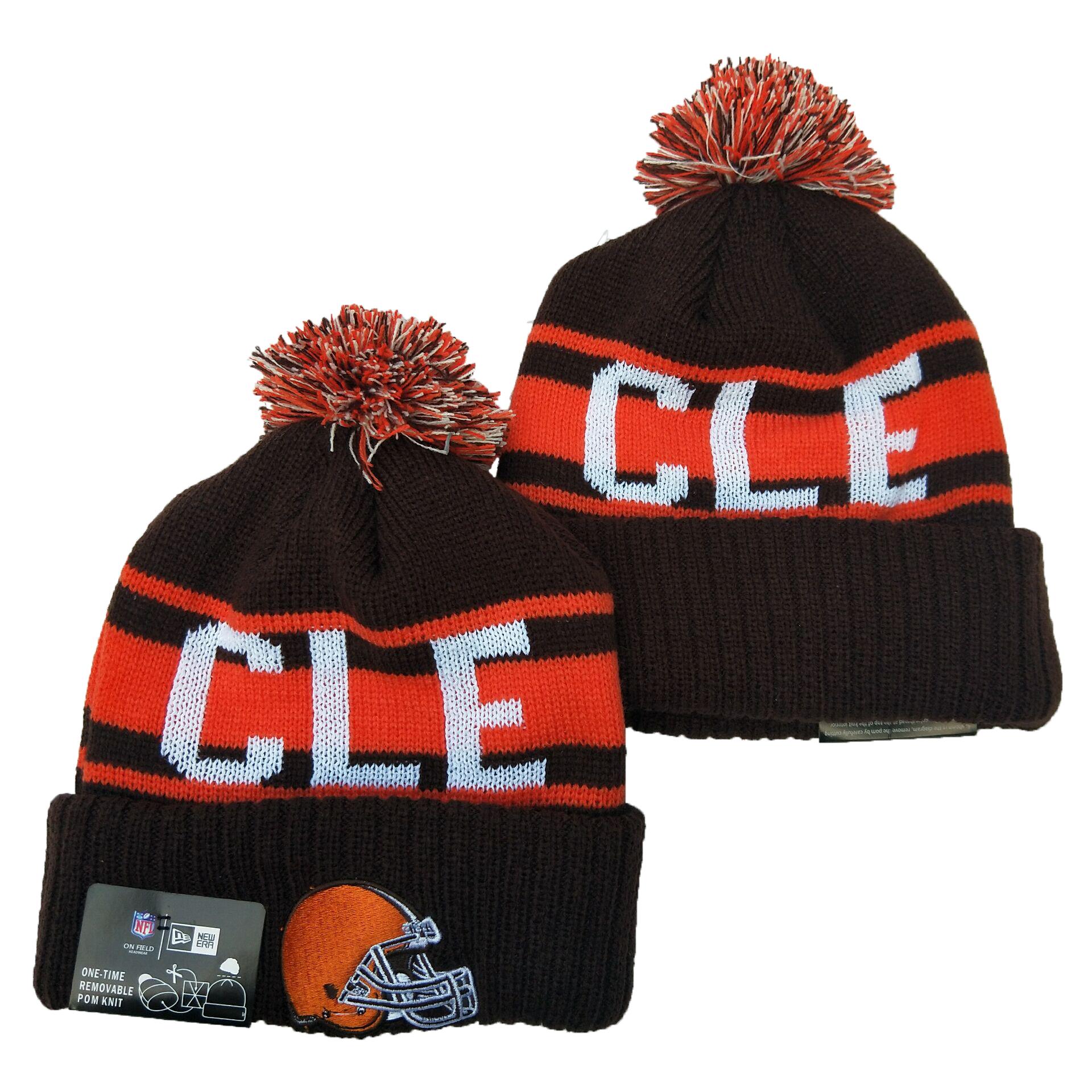 Browns Team Logo Brown Orange Pom Knit Hat YD