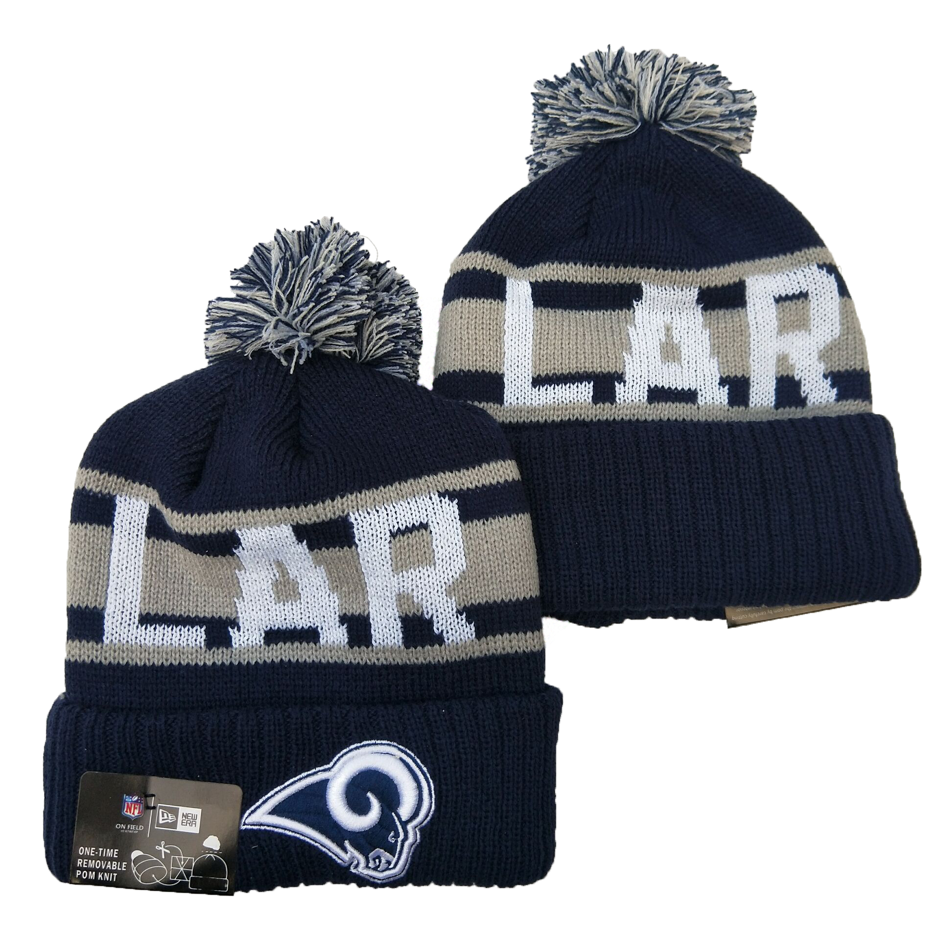 Rams Team Logo Navy Pom Knit Hat YD