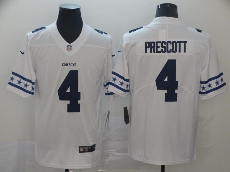 Nike Cowboys 4 Dak Prescott White Team Logos Fashion Vapor Limited Jersey