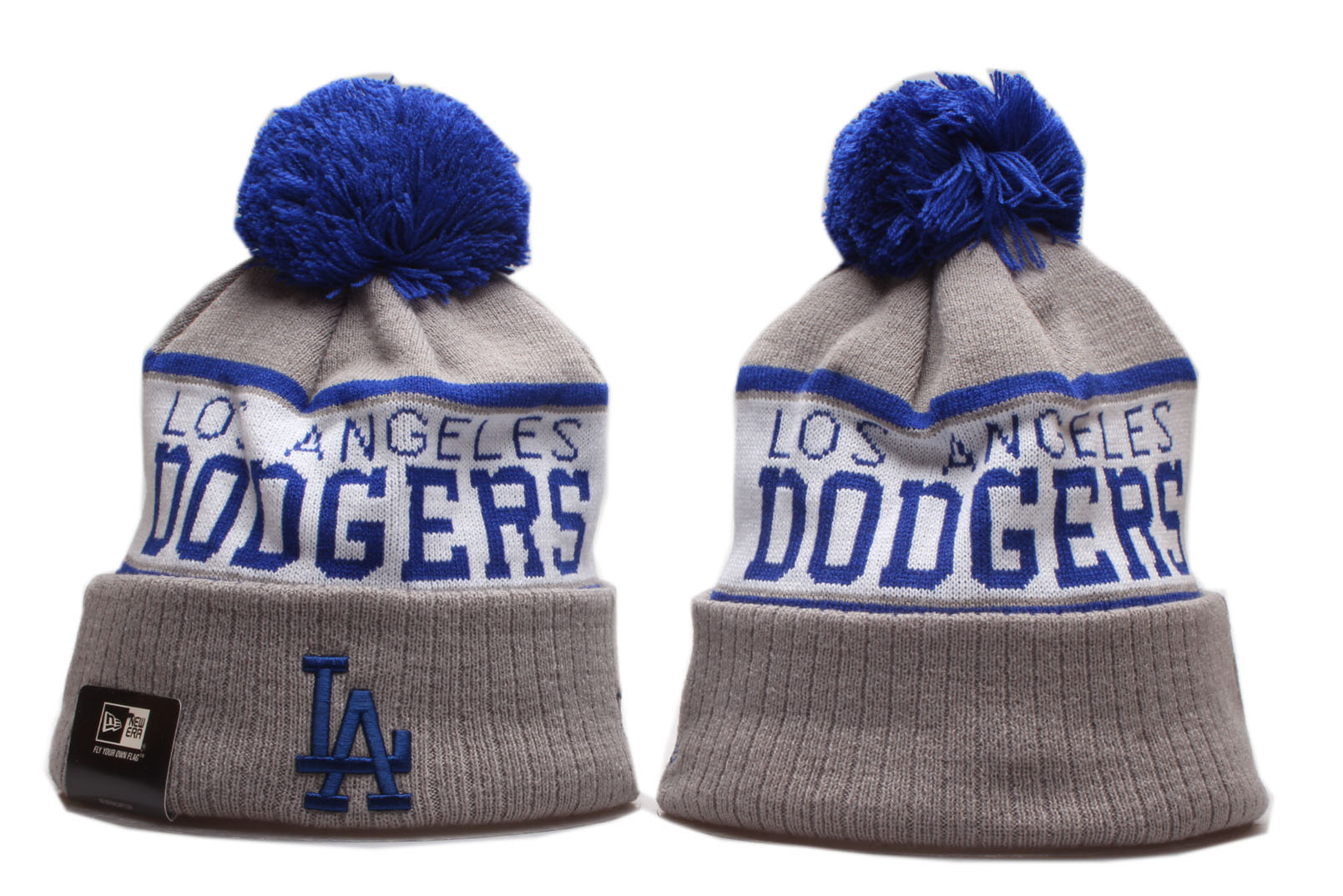Dodgers Team Logo Gray Royal Wordmark Cuffed Pom Knit Hat YP
