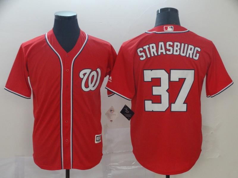 Nationals 37 Stephen Strasburg Red Cool Base Jersey
