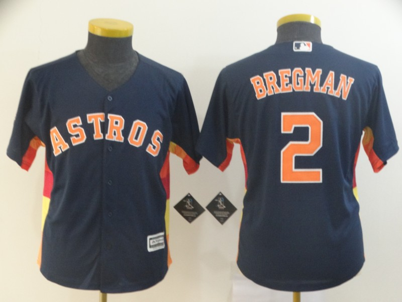 Astros 2 Alex Bregman Navy Youth Cool Base Jersey
