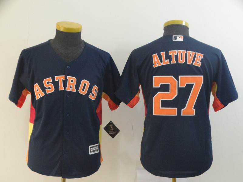 Astros 27 Jose Altuve Navy Youth Cool Base Jersey