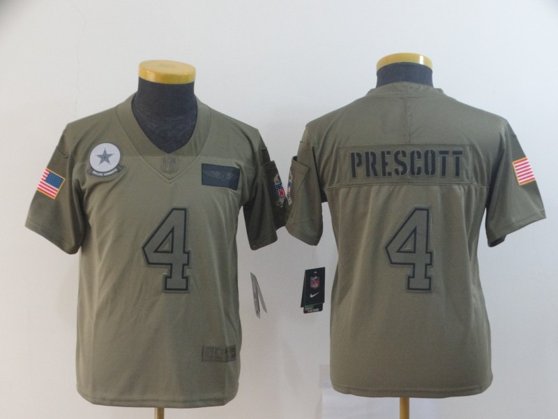 Nike Cowboys 4 Dak Prescott 2019 Olive Youth Salute To Service Limited Jersey