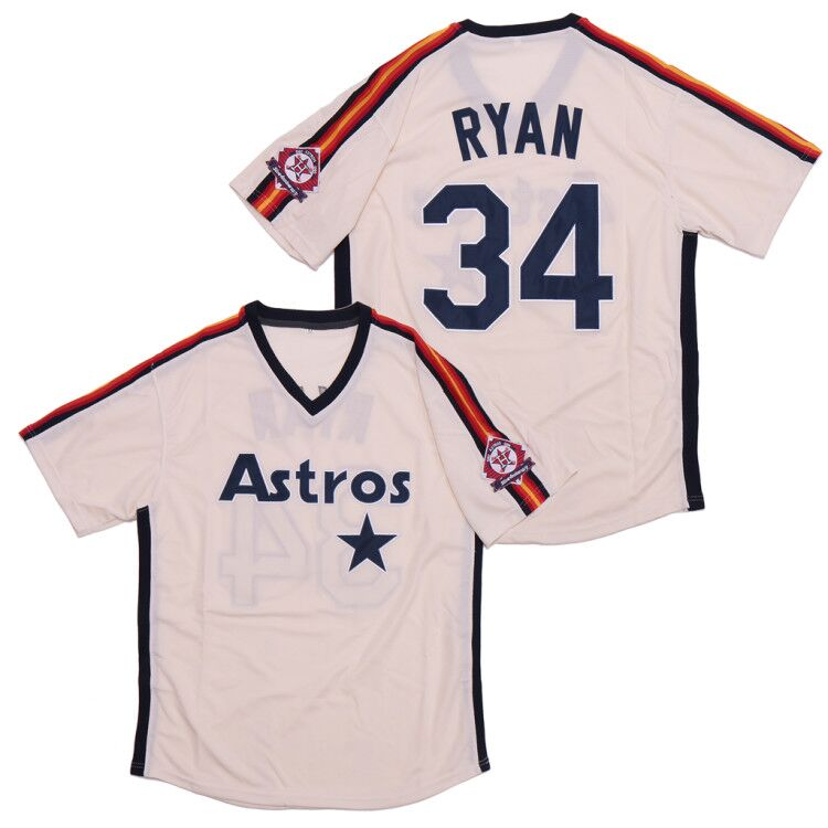 Astros 34 Nolan Ryan White Throwback Jersey