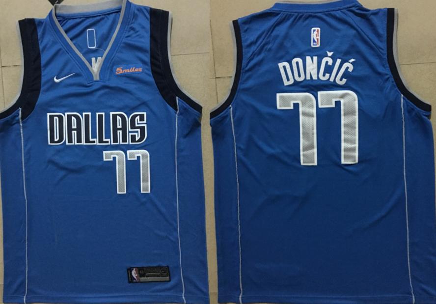 Mavericks 77 Luka Doncic Blue Nike Swingman Jersey