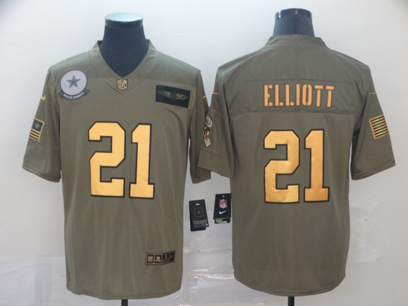 Nike Cowboys 21 Ezekiel Elliott 2019 Olive Gold Salute To Service Limited Jersey