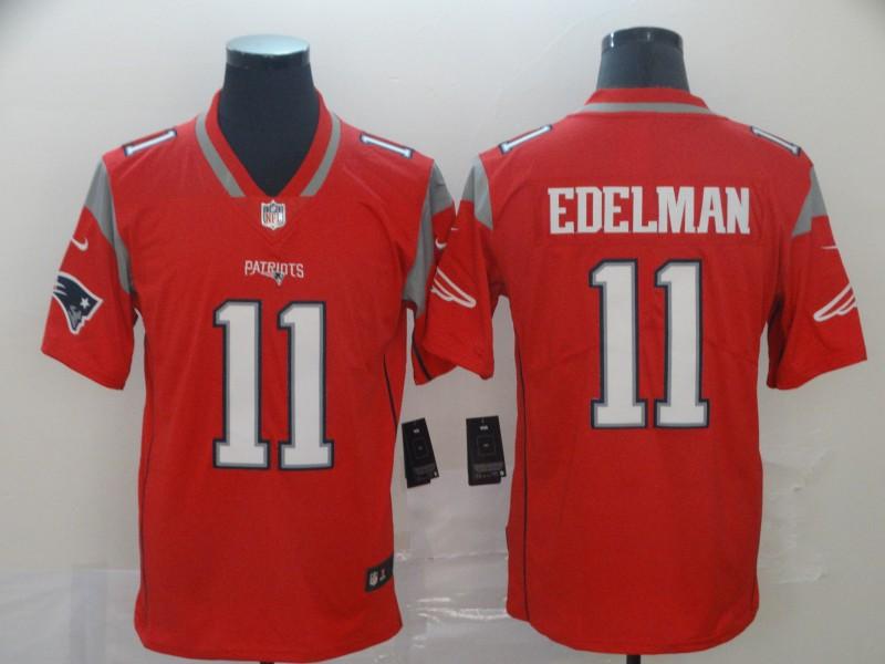 Nike Patriots 11 Julian Edelman Red Inverted Legend Limited Jersey