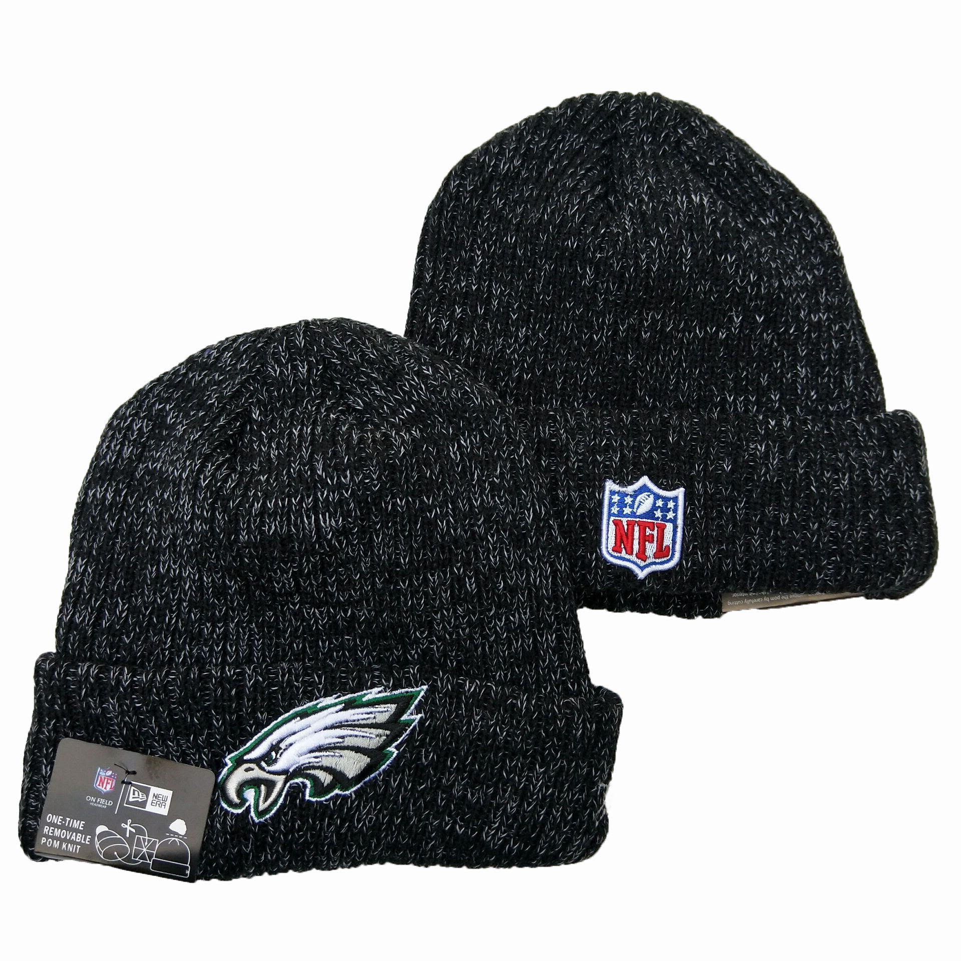 Eagles Fresh Logo Black Pom Knit Hat YD