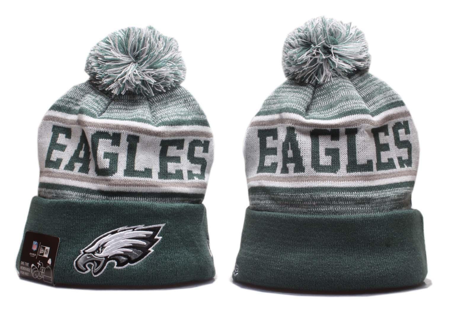 Eagles Team Logo Green Pom Knit Hat YP