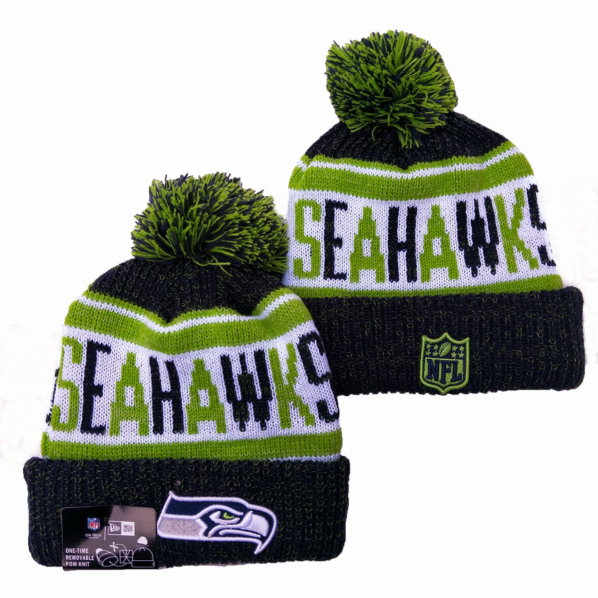Seahawks Team Logo Black Green Pom Knit Hat YD
