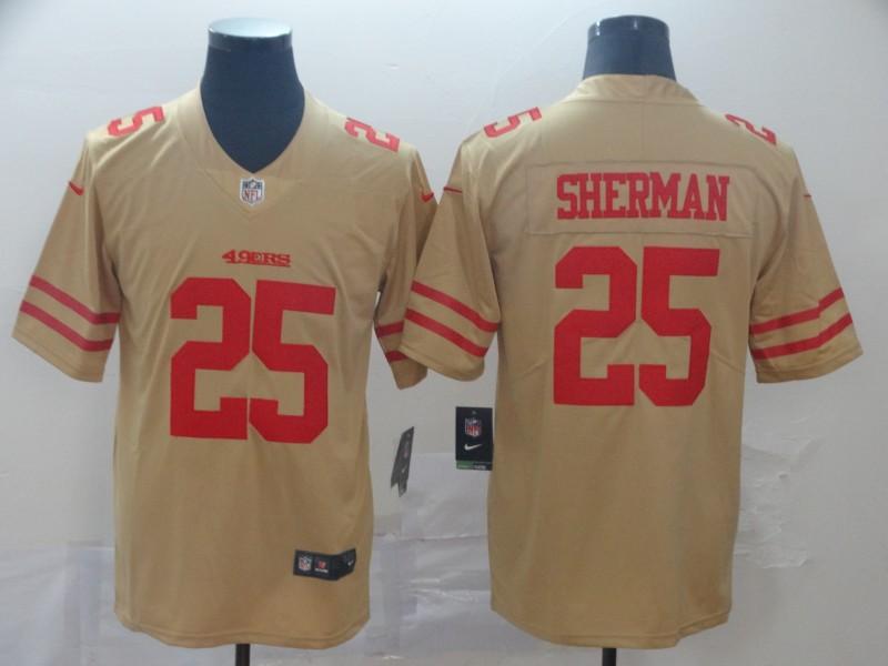 Nike 49ers 25 Richard Sherman Cream Inverted Legend Limited Jersey