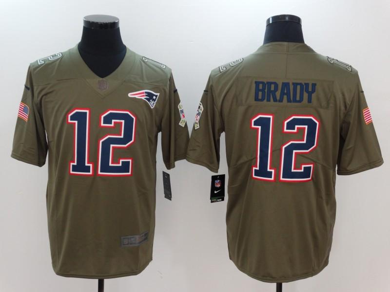Nike Patriots 12 Tom Brady Olive Salute To Service Limited Jersey