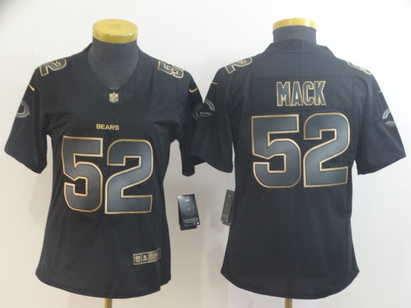 Nike Bears 52 Khalil Mack Black Gold Women Vapor Untouchable Limited Jersey
