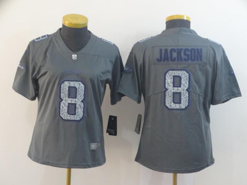 Nike Ravens 8 Lamar Jackson Gray Camo Women Vapor Untouchable Limited Jersey