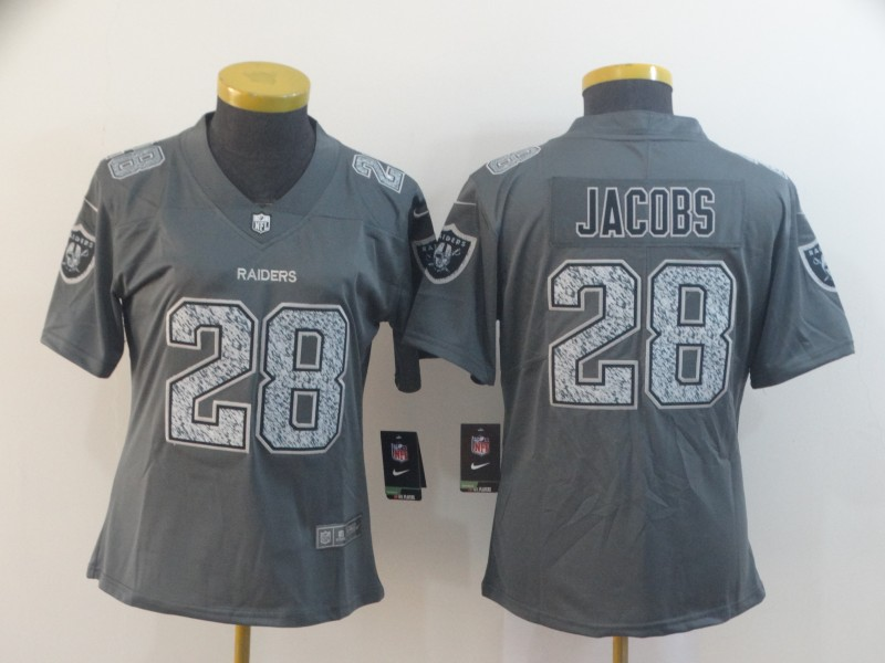 Nike Raiders 28 Josh Jacobs Gray Camo Women Vapor Untouchable Limited Jersey
