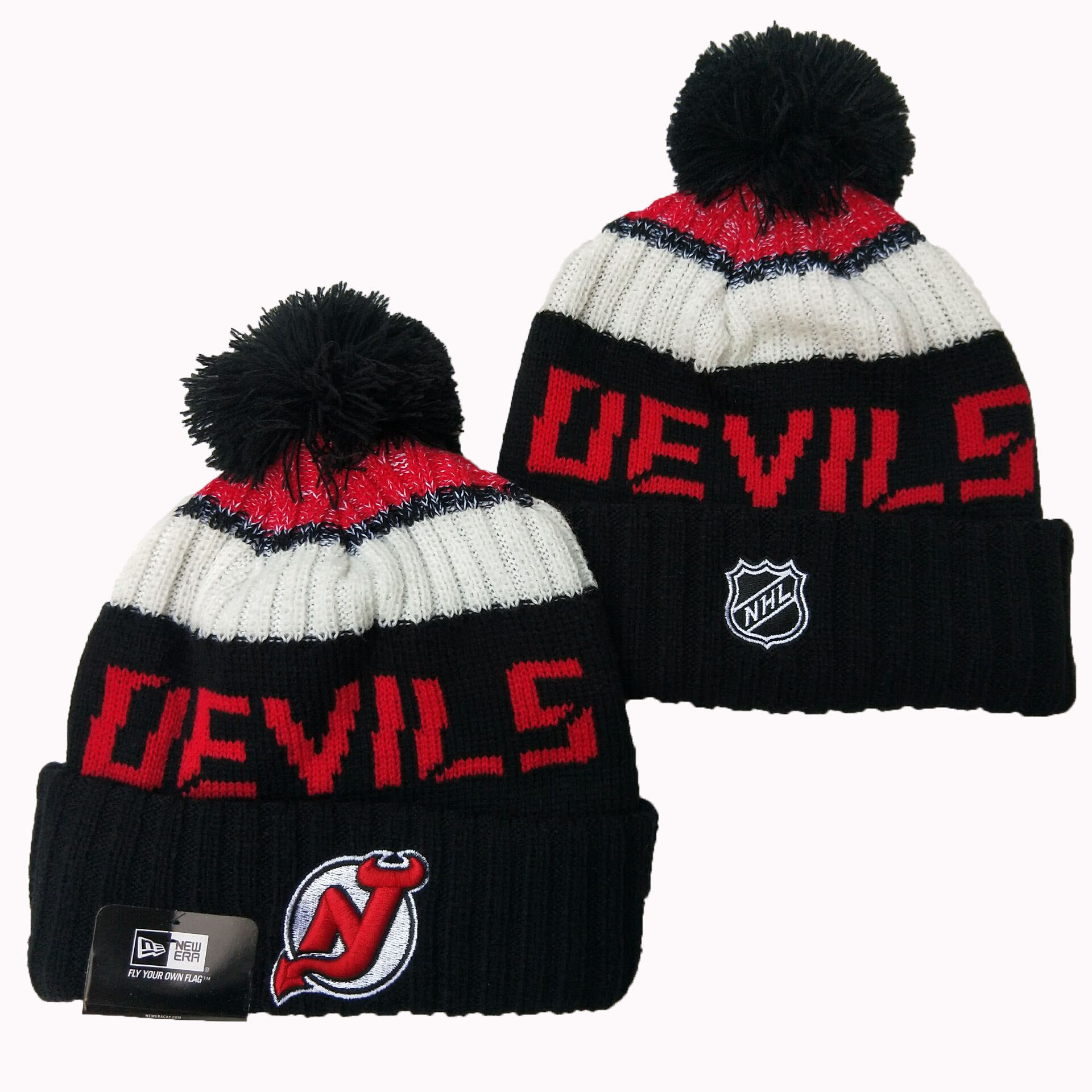 New Jersey Devils Team Logo Black Pom Knit Hat YD