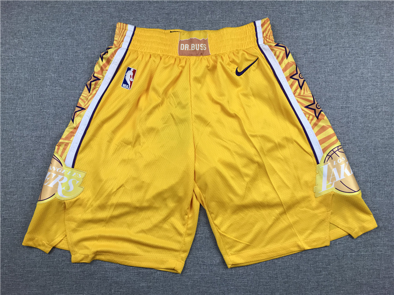 Lakers Yellow City Edition Nike Swingman Shorts