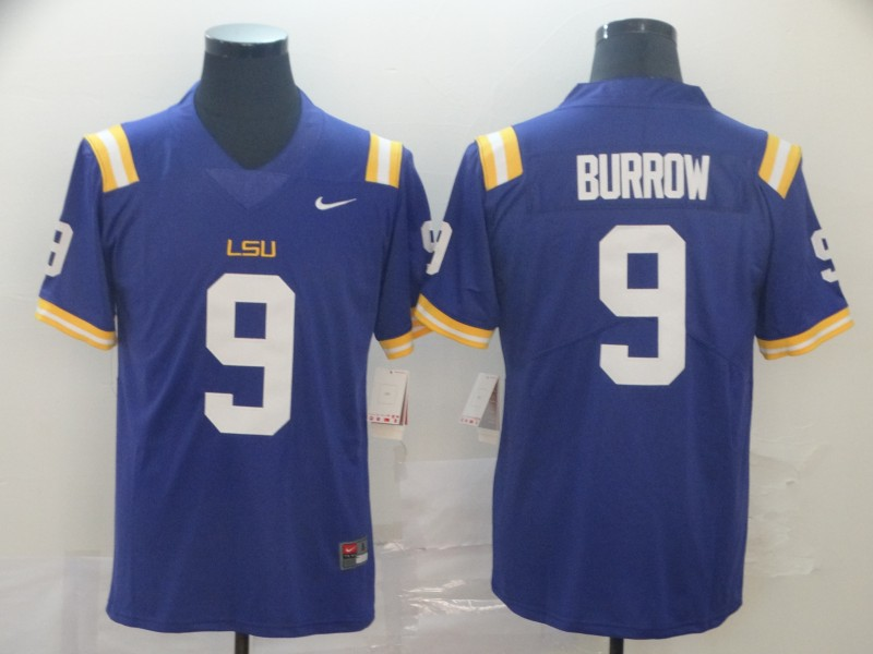 LSU Tigers 9 Joe Burrow Purple Nike College Football Jersey