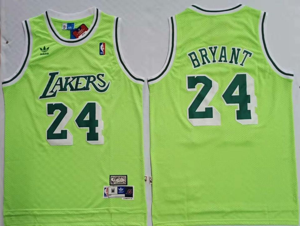 Lakers Bape 24 Kobe Bryant Green Hardwood Classics Mesh Jersey