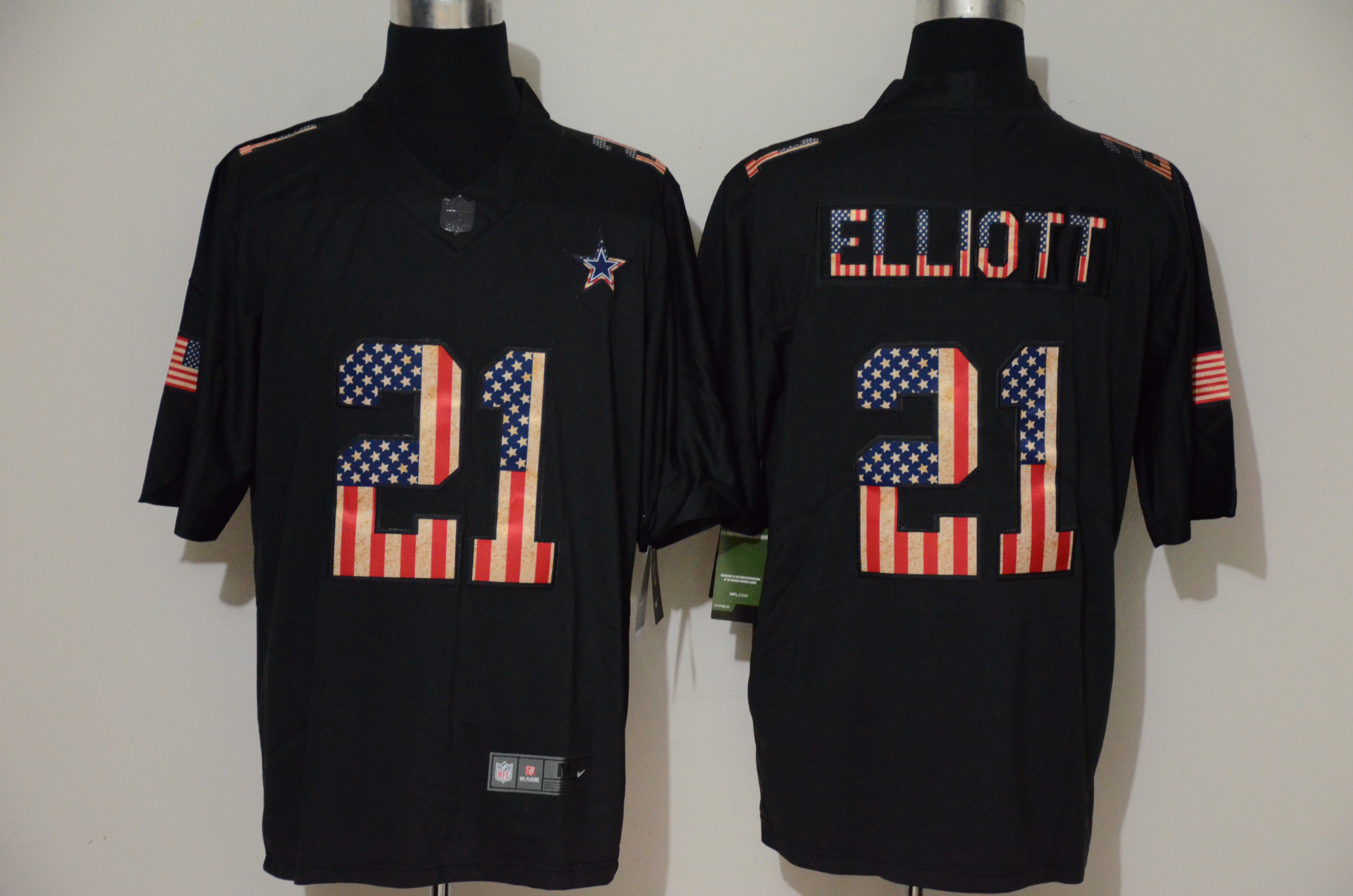 Nike Cowboys 21 Ezekiel Elliott 2019 Black Salute To Service USA Flag Fashion Limited Jersey