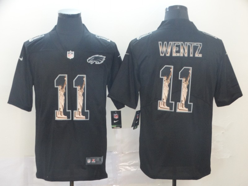 Nike Eagles 11 Carson Wentz Black Statue of Liberty Limited Jersey