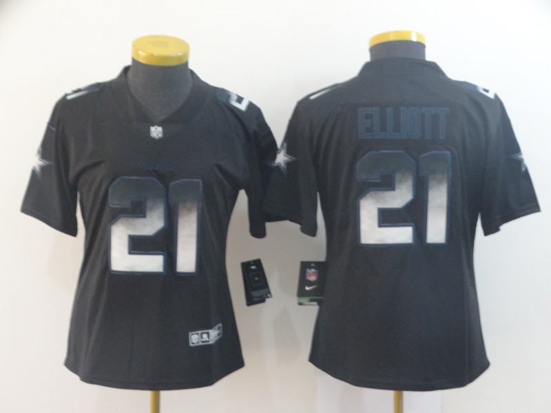Nike Cowboys 21 Ezekiel Elliott Black Arch Smoke Women Vapor Untouchable Limited Jersey