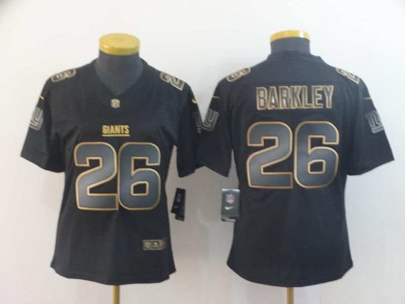 Nike Giants 26 Saquon Barkley Black Gold Women Vapor Untouchable Limited Jersey