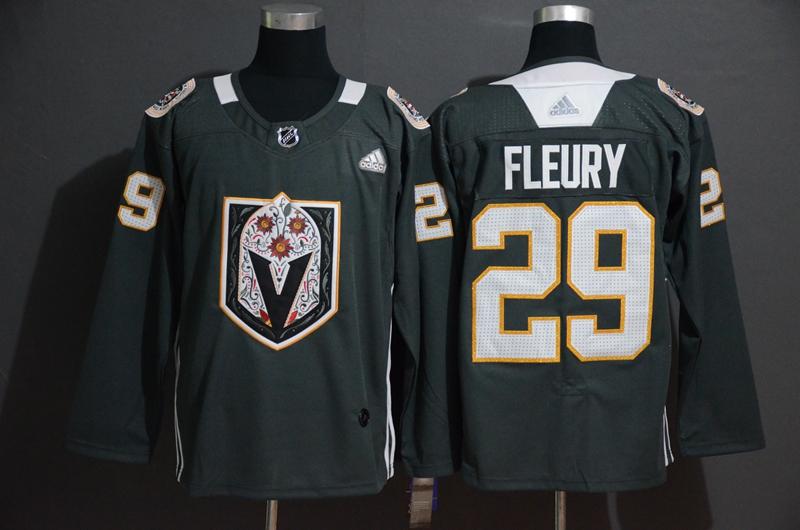 Vegas Golden Knights 29 Marc-Andre Fleury Gray Dia De Los Muertos Adidas Jersey