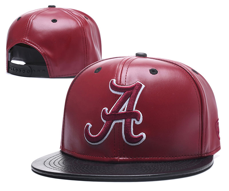 Alabama Crimson Tide Team Logo Red Leather Adjustable Hat GS