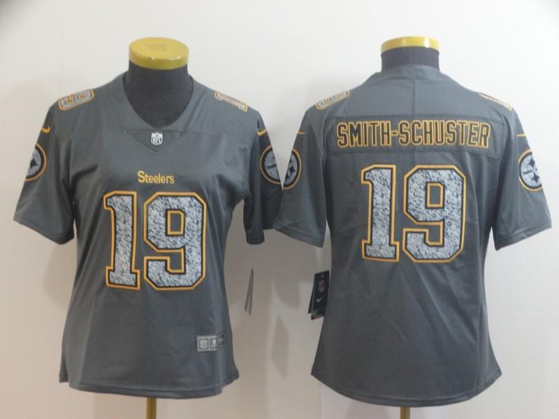 Nike Steelers 19 JuJu Smith-Schuster Gray Camo Women Vapor Untouchable Limited Jersey
