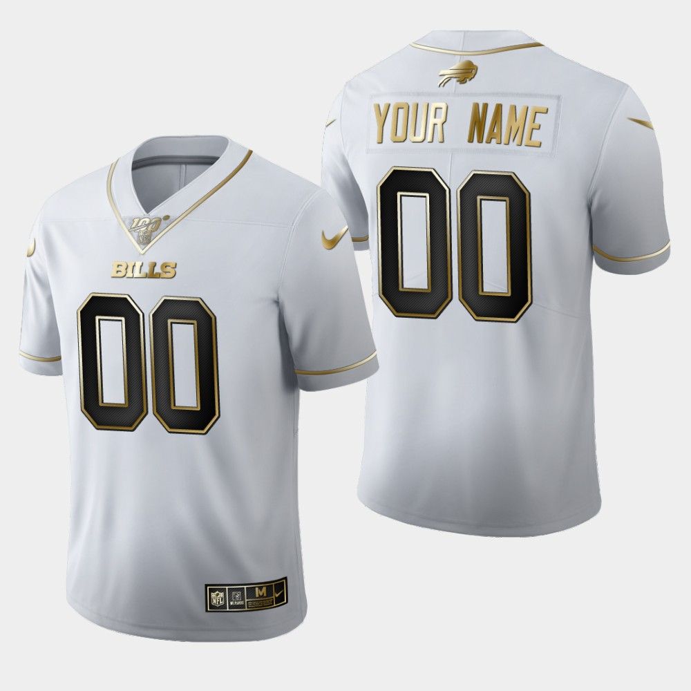 Nike Bills Customized White 100th Season Vapor Untouchable Limited Jersey