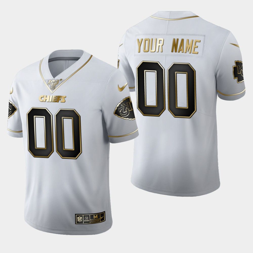 Nike Chiefs Customized White 100th Season Vapor Untouchable Limited Jersey