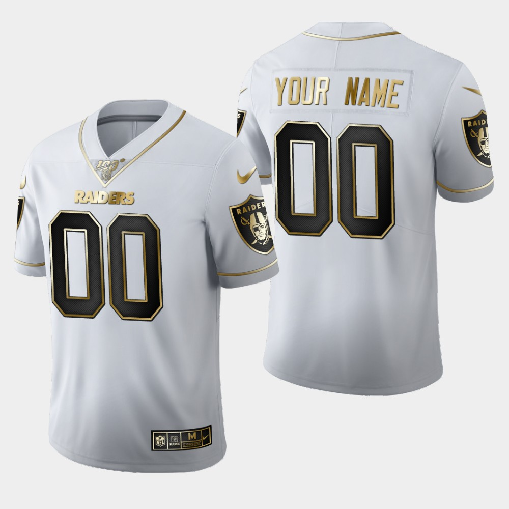 Nike Raiders Customized White 100th Season Vapor Untouchable Limited Jersey