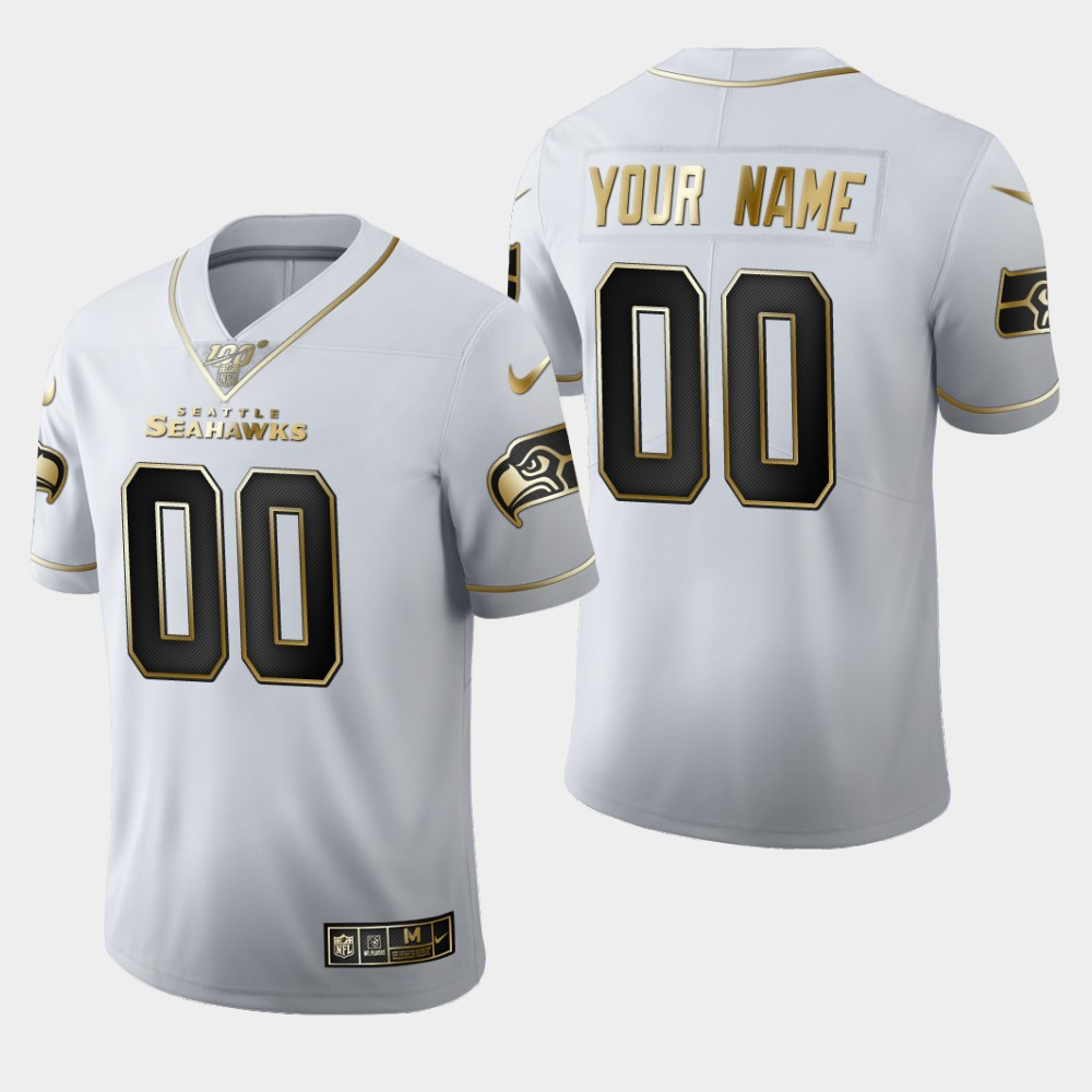 Nike Seahawks Customized White 100th Season Vapor Untouchable Limited Jersey