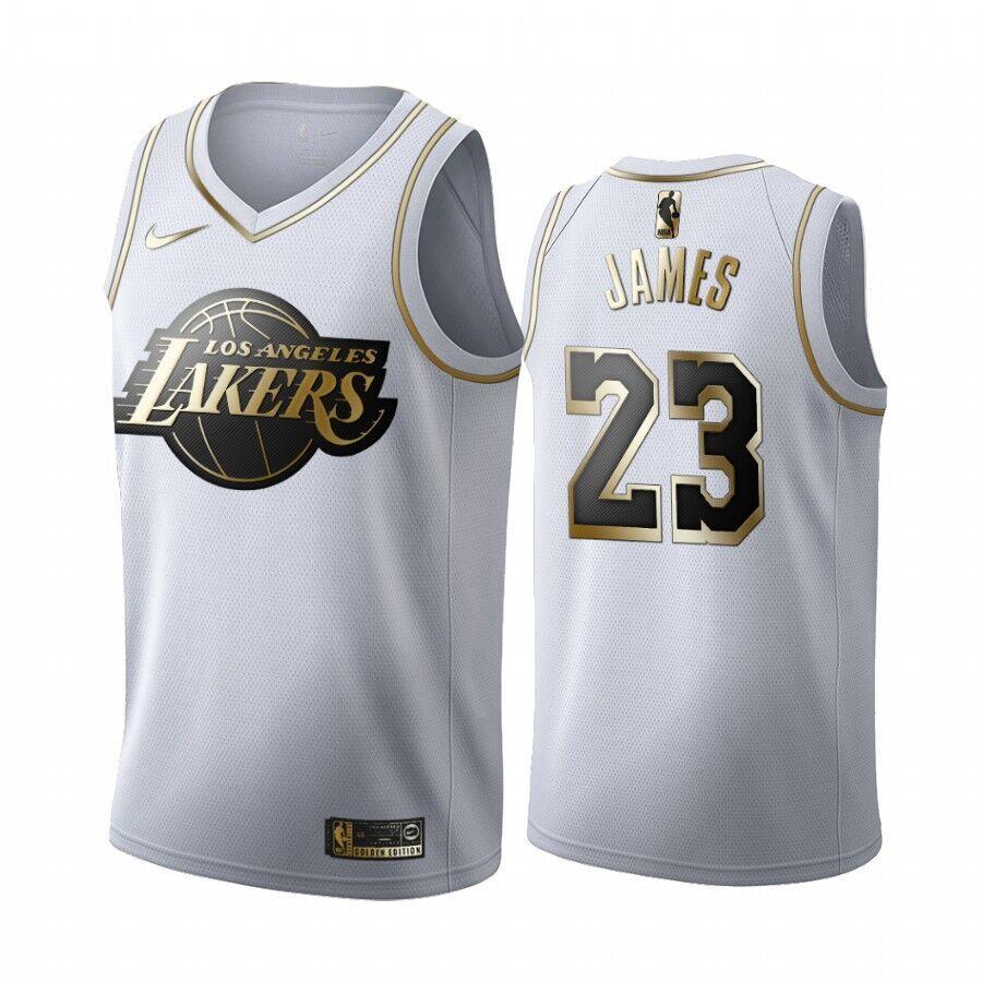 Lakers 23 Lebron James White Gold Nike Swingman Jersey