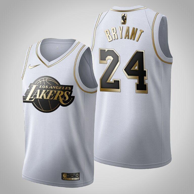 Lakers 24 Kobe Bryant White Gold Nike Swingman Jersey
