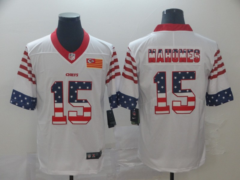 Nike Chiefs 15 Patrick Mahomes White USA Flag Fashion Limited Jersey